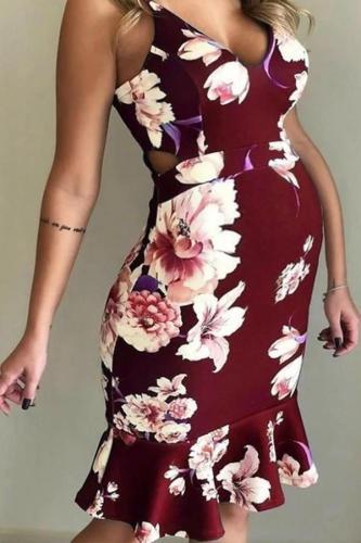 Maternity V-Neck Backless Printing Above Dress