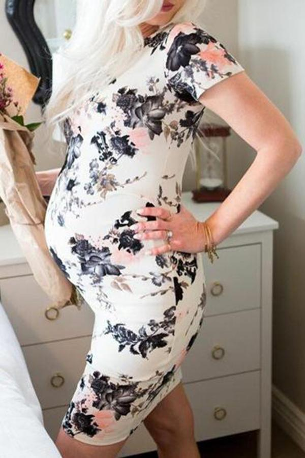 Maternity Floral Print Short Dress