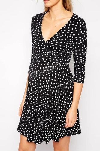 The Polka Dot V Neck High Waist  Sexy Maternity Dress