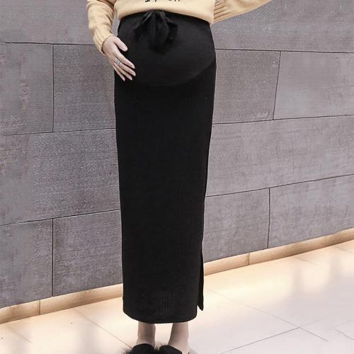 Maternity wear long knit split bag hip skirt