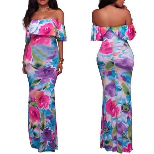 Maternity Floral Print Off Shoulder Short Sleeve Maxi Dress
