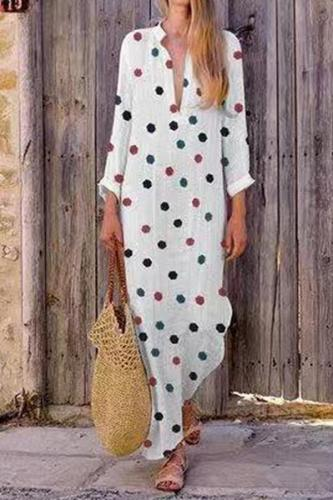 Maternity Sweet V Neck Long Sleeve Polka Dot Dress