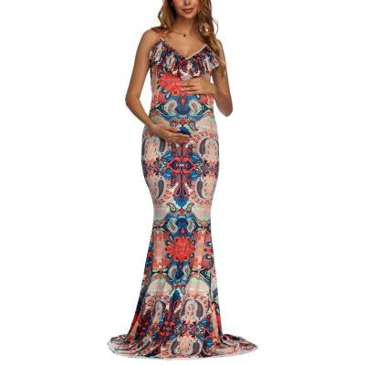 Maternity Floral V-Neck Sleeveless Floor Length Dress