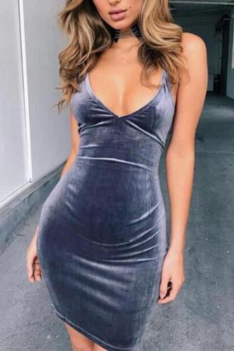 Maternity Sexy Plain Deep V Bodycon Dress