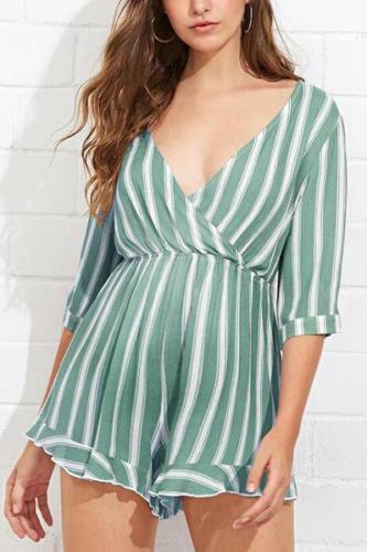 Maternity Stripe Half Sleeve Jumpsuit
