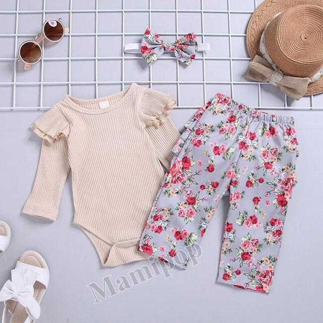 Baby Girl  Beige Tops Flower Trousers and Bow Headband Three-Piece Suit