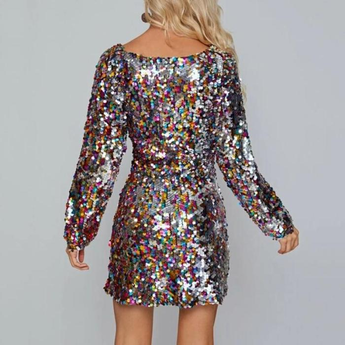 Maternity colouring sequin square neck long sleeves dress