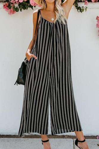 Fashion Sling Striped Broad Leg Sleeveless Jumpsuits