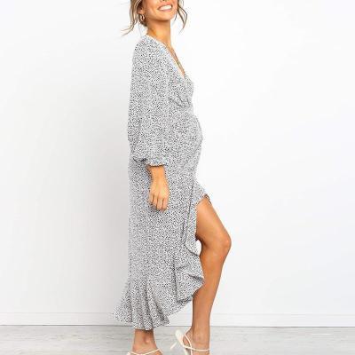 Maternity V-neck printed long-sleeved dress