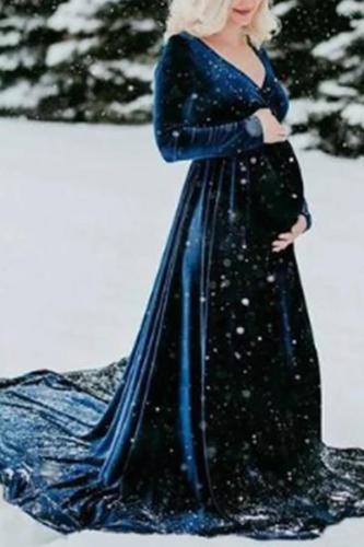 Maternity Long Sleeve V Neck Dress
