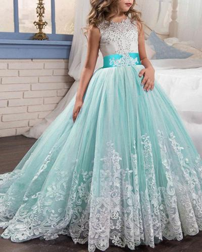 Embroidered Color-block Mop Evening Dress