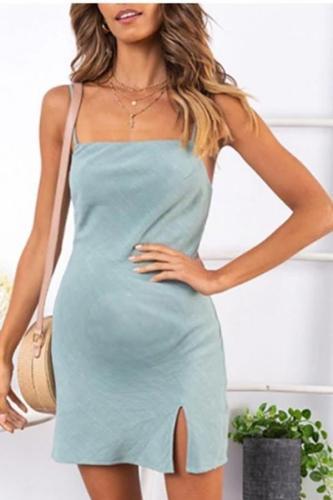 Maternity Solid Color Sexy Slip Mini Dress
