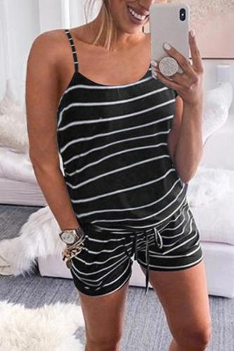 Maternity Open Shoulder Tie Striped Printing Jumpsuits Shorts