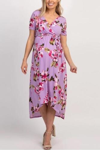 Maternity V Neck Sleeveless Printed Dress