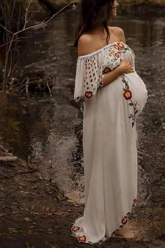 Bohemia word shoulder print hollow embroidery maternity dress