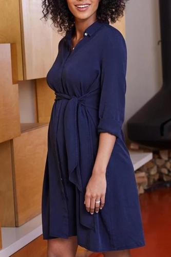Maternity Brief Pure Colour Halflong Sleeve Dress