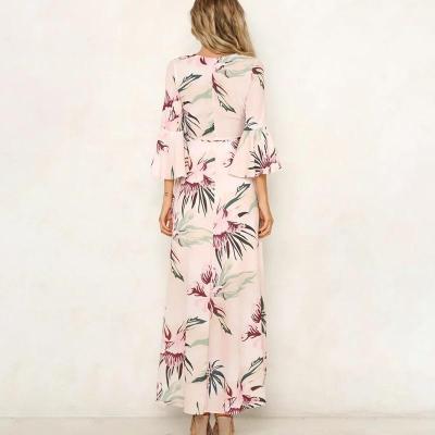 Maternity V-Neck Printing Maxi Dress