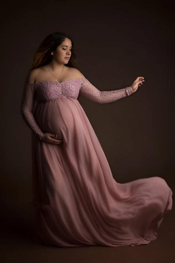 Couple Dusty Pink Pregnant Photo Lace Dress