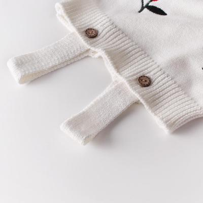 2020 Spring Set 0-2 year Old Baby Cherry Embroidery Cute Sweet Long-sleeved Romper
