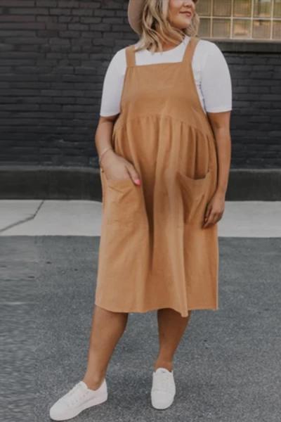 Maternity pure color sling pocket dress