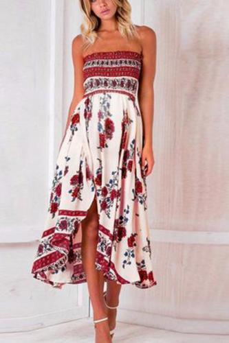 Maternity Printed Colour Off-Shoulder Sleeveless Dress