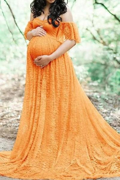 Maternity Sexy Mop And Lace Long Dress