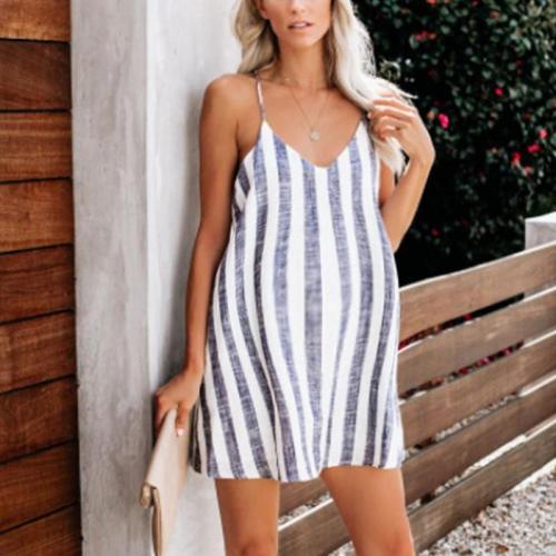 Maternity Loose Spaghetti Strap Stripe Skirt