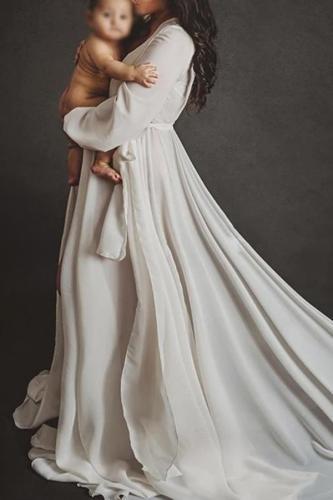 Maternity Elegant Pure Color V Neck Long Sleeve Dress