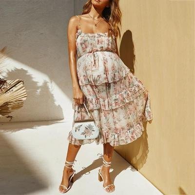 Maternity Print Sling Ruffle Dress