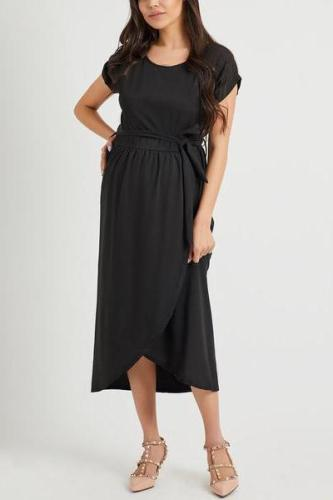 Maternity Random Elegant Short Sleeves Splited Hem Maxi Dresses