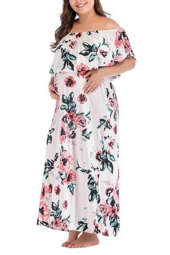 Autumn And Winter Printed One-Shoulder Large Size Maternity Dress