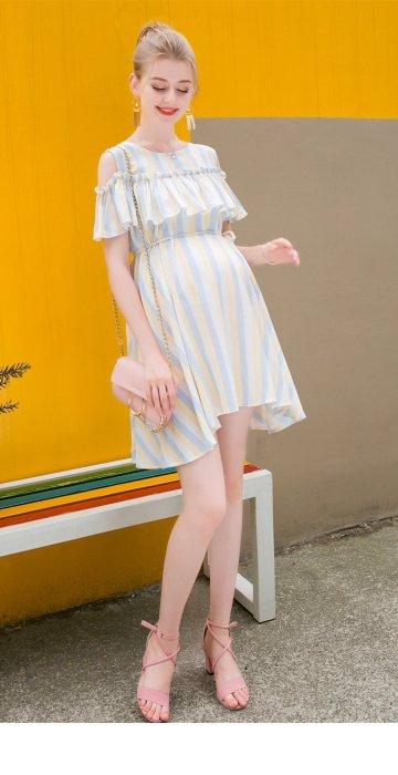 Maternity O Neck Short Sleeve Ruffles Striped Cotton Mini Dress