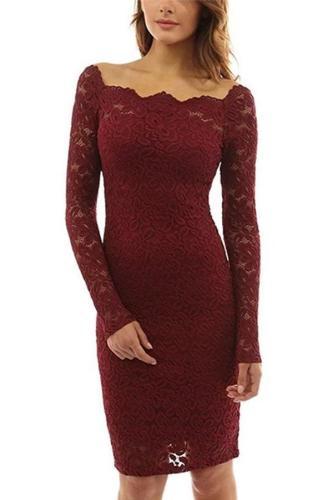 Lace Cutout Long Sleeve Sexy Slim Fit Maternity Dress