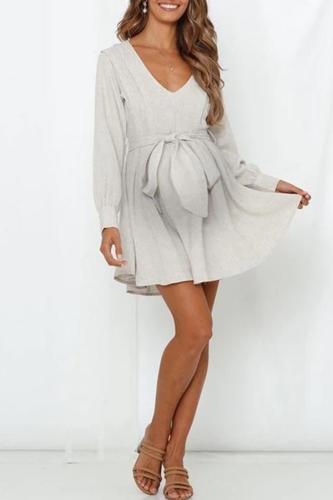 Maternity Fashion V-neck Long Sleeve Pure Color Mini Dress