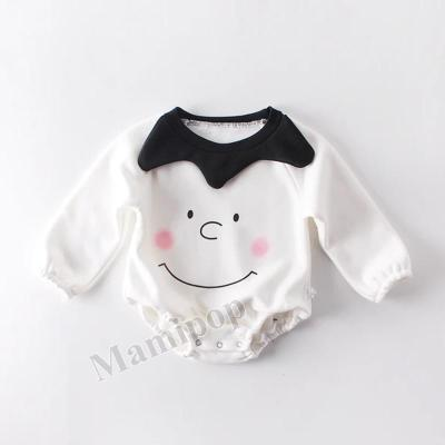 Winter New Baby Smiley Face Plus Velvet Cotton Long-sleeved Jumpsuit Climbing Suit
