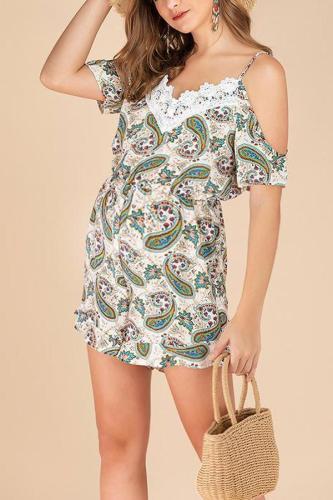 Maternity Stitching Lace Holiday Jumpsuit