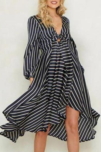 Maternity Casual Striped V Neck Asymmetric Hem Dress