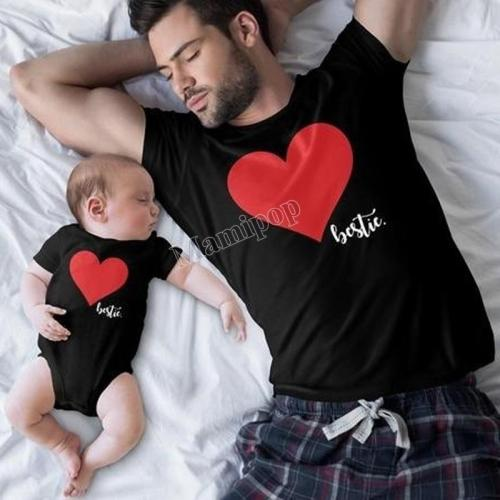 Summer Family Matching Clothes Love Heart Print O-neck T-shirt Baby Rompers Father And Son Outfits