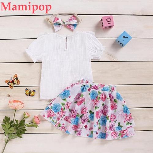 3Pcs Summer Children Clothes  Infant Short Sleeve T-shirt Ruffles Tops Skirt Outfits