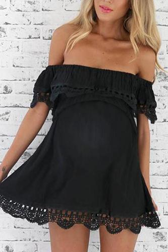 Maternity Off The Shoulder Plain Lace Patchwork Daily