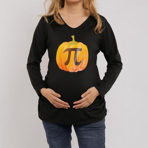 Halloween Pumpkin Print Maternity Long Sleeve Tee