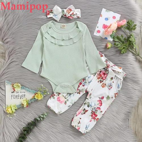 Casual Autumn Clothes for Baby Girl Boy Long Sleeve Ruffle Romper
