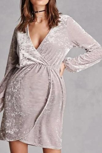 Maternity Casual Pure Color Deep V Velvet Dress