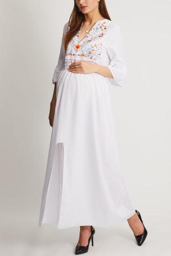 Maternity Deep V Neck Printed Maxi Dress