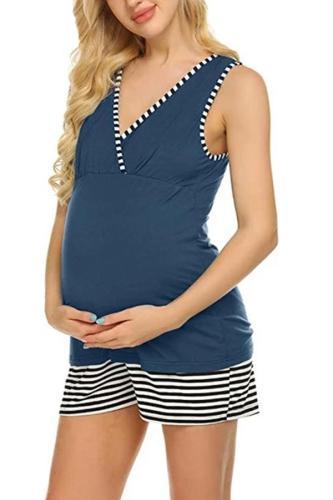 Nursing Pajamas Set Summer Women Striped for Breastfeeding Top Pants