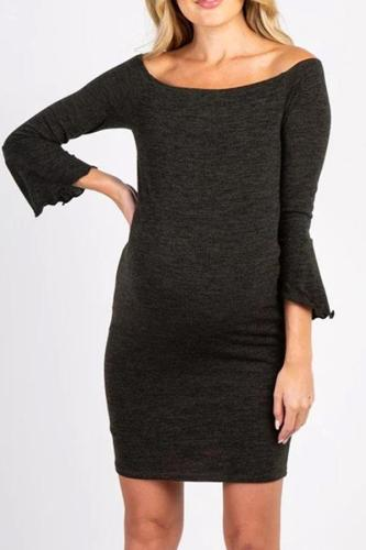 Maternity Casual Backless 3/4 Sleeves Pure Colour Dress