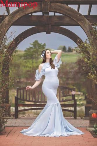 Maternity Dresses For Photo Shoot Sexy Ruffles Sleeve Dress