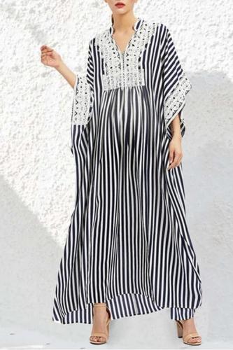 Maternity Fashion Lace Stripe Maternity Dress