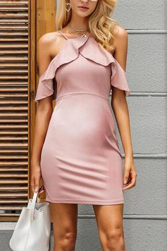 Maternity Plain Ruffle Halter Backless Work Bodycon Dress