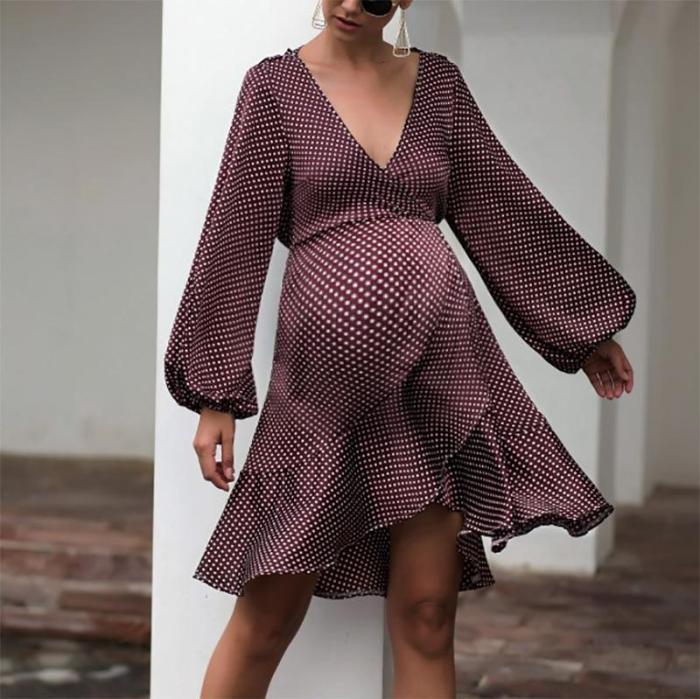 Maternity Fashion Bishop Sleeve Deep V Neck Ruffled Dress